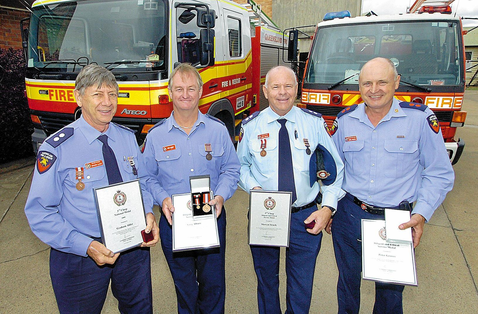 Gympie firefighters awards (L) Graham Alder, Greg Albury, Merv Strack and Peter Groves.Photo: ALISTAIR BRIGHTMAN 09h2265c
