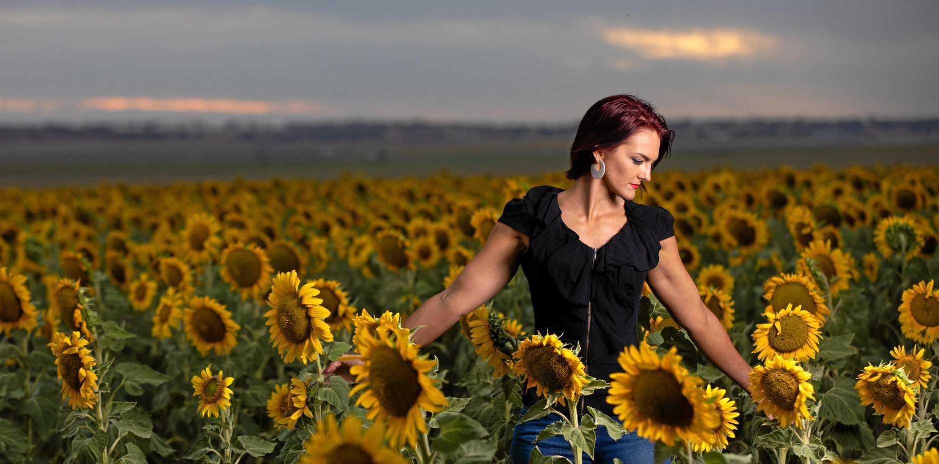 Tim Swinson captured stunning photos of Tamlyn Wolfenden amongst a sunflower field in Oakey.