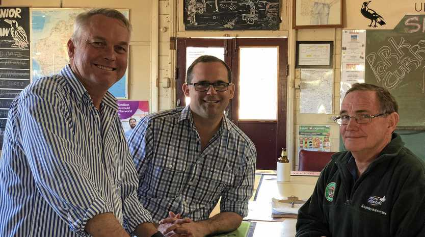 DRY TIMES: Chris Turner may be forced to close the doors of the Union Hotel if conditions do not improve. Also picture Lachlan Millar and David Janetzki.