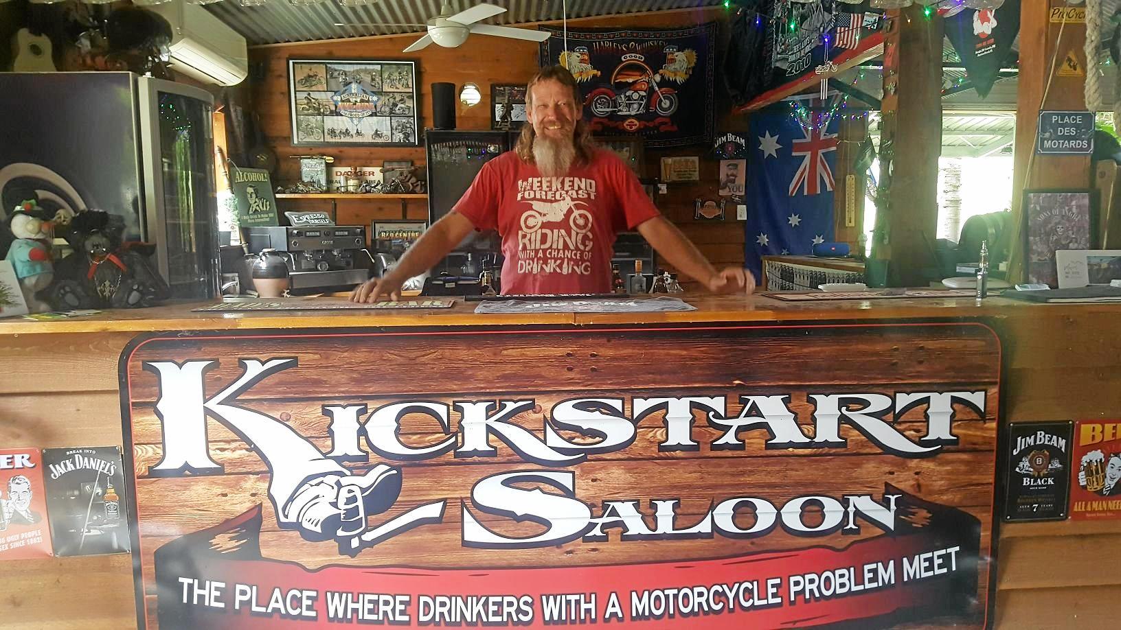 Des McCallum behind the Kickstart Saloon bar at Adventure Riders Ranch.