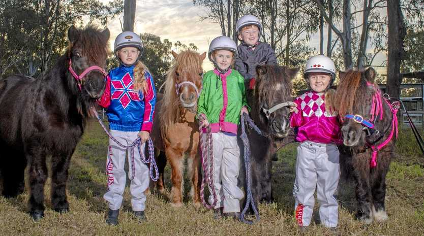 Ella Gillies, 7, and Beau Knows, Charlee Neaves, 8, and Crazy Daisy, Callan Neave, 6, sits on Flying Frankie, and Zoe Gillies, 4, with Supreme Joe.