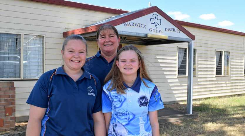 CHANGE IN LEADERSHIP: Warwick Girl Guides Leader Tamie Alder has stepped down from the role and the group needs someone to take her place. She is pictured with her two daughters, Rachel and Holly.