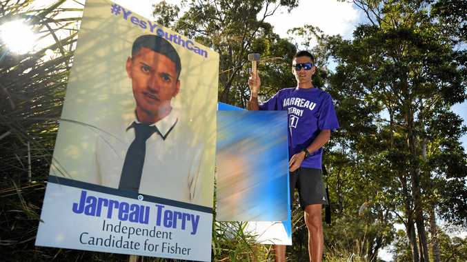 Jarreau Terry with one of his signs used during the 2013 election.