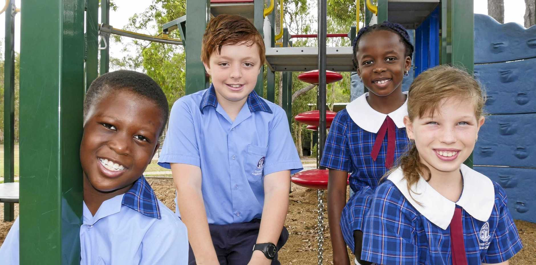 Fraser Coast Anglican College year 3 student Oluwatobi Adewumi, year 7 student Caidyn Hunt, year 3 student Diva Ejembi and year 4 student Courtney Adams.