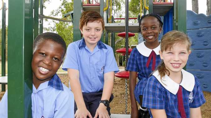 GREAT MARKS: Fraser Coast Anglican College year 3 student Oluwatobi Adewumi, year 7 student Caidyn Hunt, year 3 student Diva Ejembi and year 4 student Courtney Adams.