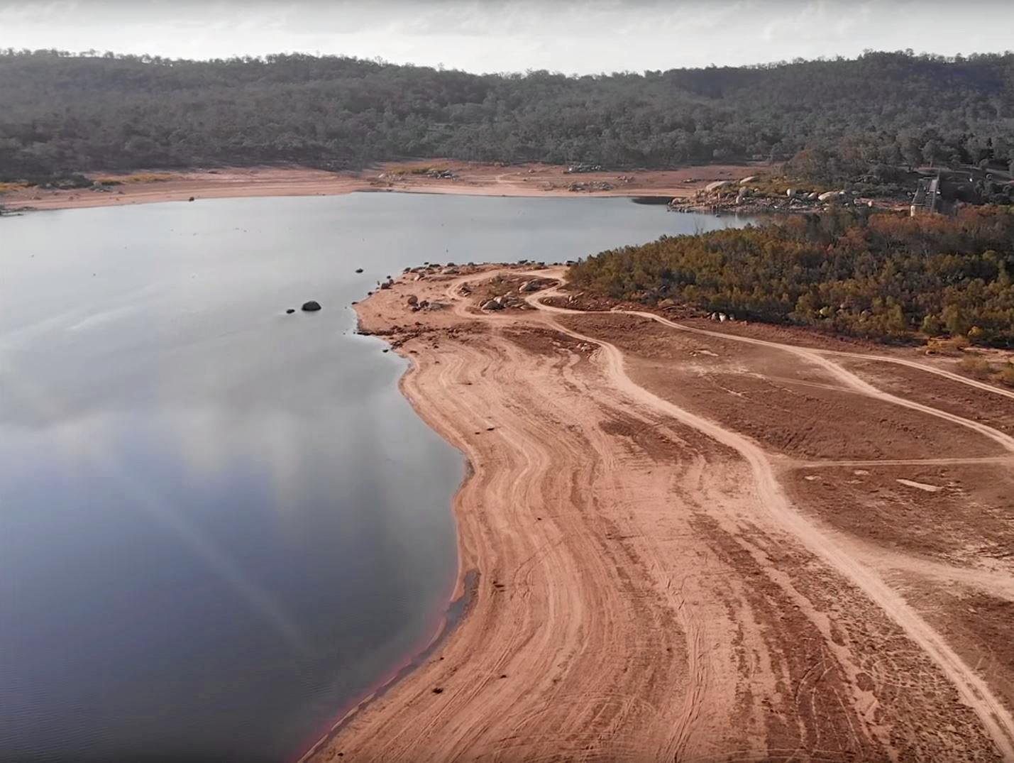 LOW LEVELS: David Lammert Jannenga has been taking photographs of Warwick's stunning Leslie Dam for four years and has never seen it so low.