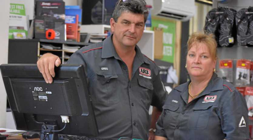 FED UP: Greg and Chris Henwood are annoyed by the damage to their work vehicle which happened early this morning.