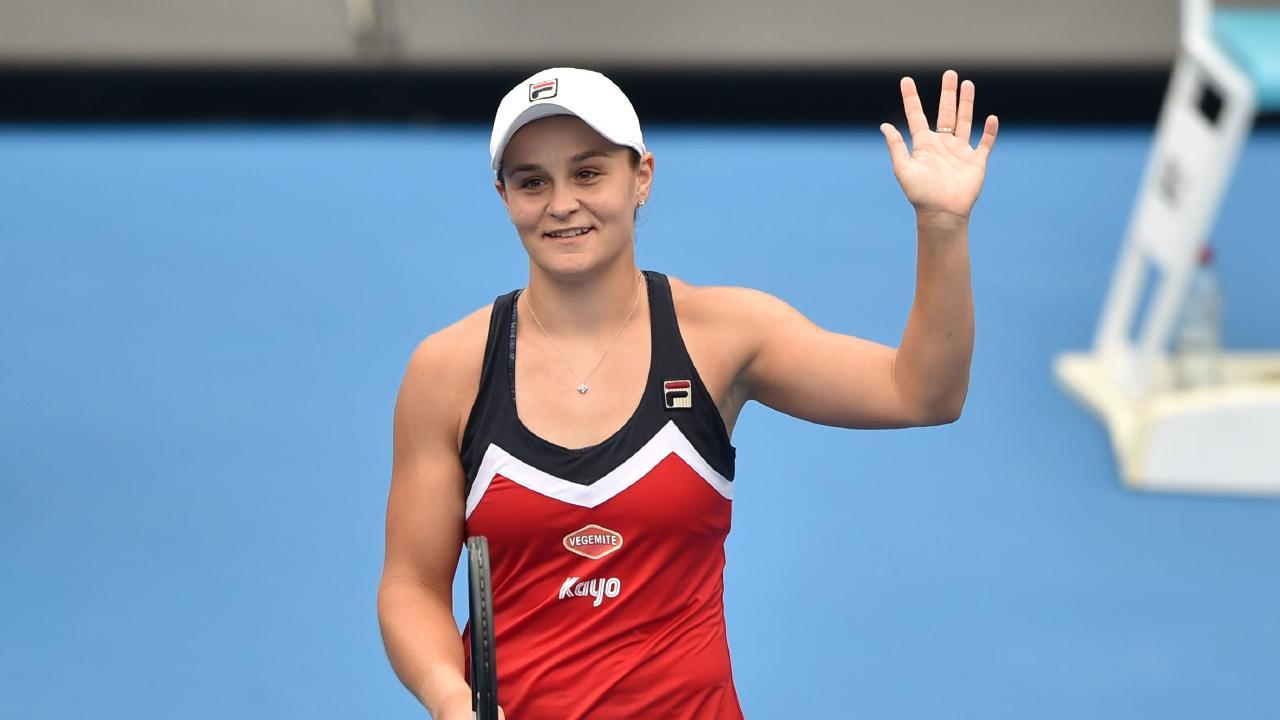Australia's Ashleigh Barty celebrates her win over Kiki Bertens. Picture: AFP