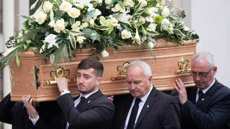 Murdered British backpacker Grace Millane found dead in New Zealand ditch is laid to rest by family and friends in an emotional funeral in the UK. Picture: Paul Edwards/The Sun