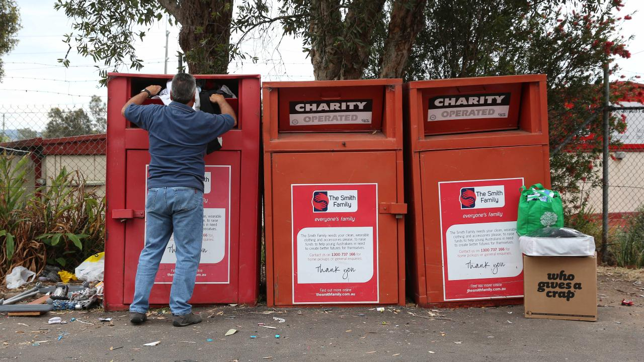 Smith Family bins in New South Wales. Picture: AAP Image/Sue Graham.