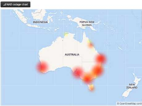 A NAB outage map. Picture: Downdetector.com.au