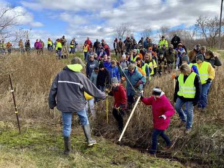 Volunteers search for 13-year-old Jayme Closs, who went missing in October after her parents were found fatally shot at their home. Picture: AP Photo/Jeff Baenen