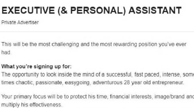 The CEO said the part-time position is not for those who want to clock in and clock out. Source: Seek