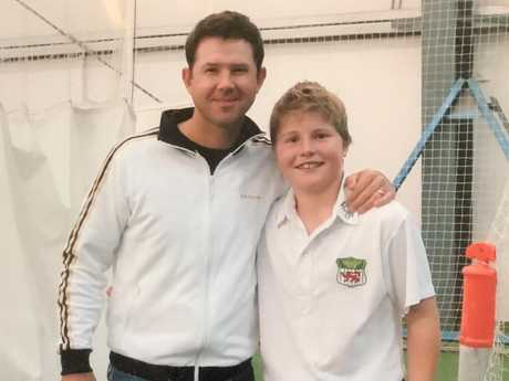 Test batter Will Pucovski as an 11-year-old with his idol Ricky Ponting.