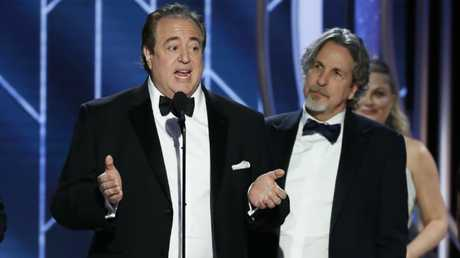 Peter Farrelly (right) with Nick Vallelonga at the Golden Globes on Monday. Picture: Paul Drinkwater/NBCUniversal via Getty Images