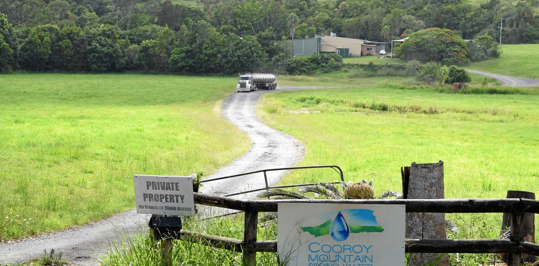 COOROY HAUL: A truck prepares to leave the Cooroy Mountain Spring Water bottling plant  on to Cooroy Mountain Rd on Friday.