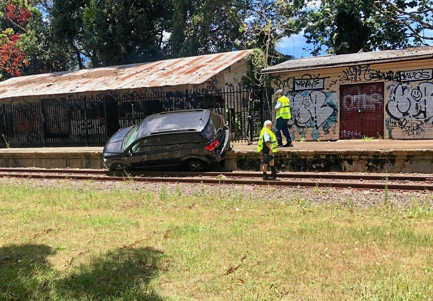 POLICE PURSUIT: A Queensland man crashes car into abandoned railway station.
