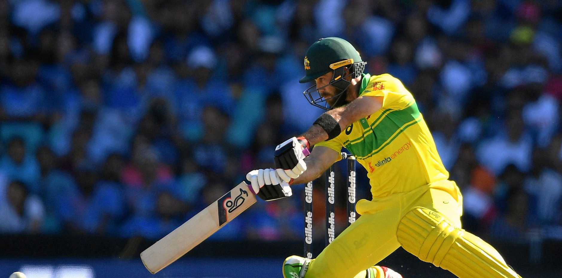 After watching from the dressing room for most of the innings, Glenn Maxwell hits out for Australia at the SCG on Saturday. Picture: Dan Himbrechts/AAP