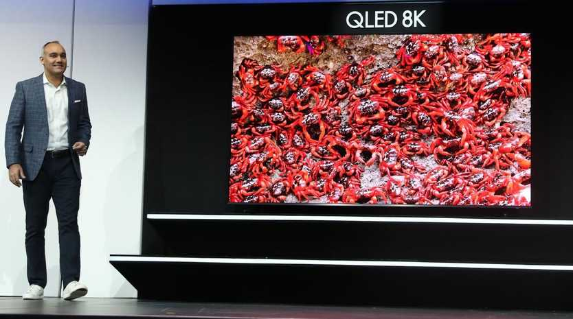 Samsung Electronics America Senior Vice President Dave Das announces the new Samsung QLED 8K television at CES 2019.
