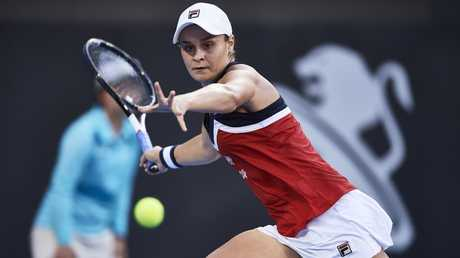 Ash Barty plays a shot against Pre``