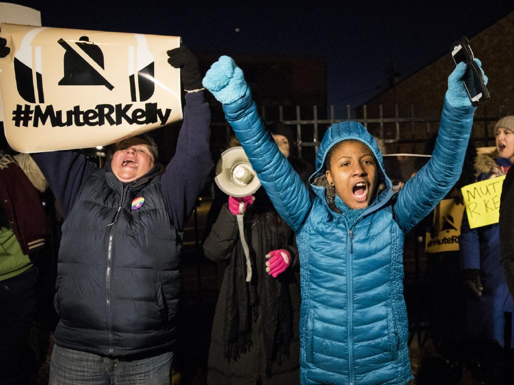 #MuteRKelly supporters protest outside R. Kelly's studio in Chicago. Picture: AP