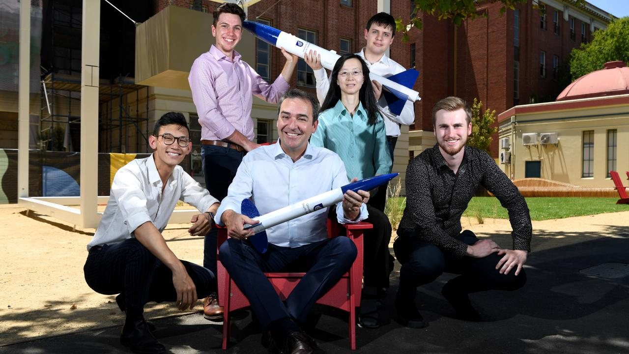 Premier Steven Marshall and Dr Thi Phong-Cac Nguyen with students graduating from the International Space Studies Program: Thien Nguyen, Eamon Lawson, Kyle Faulkner and Max Wayne at Lot Fourteen. Picture: Tricia Watkinson