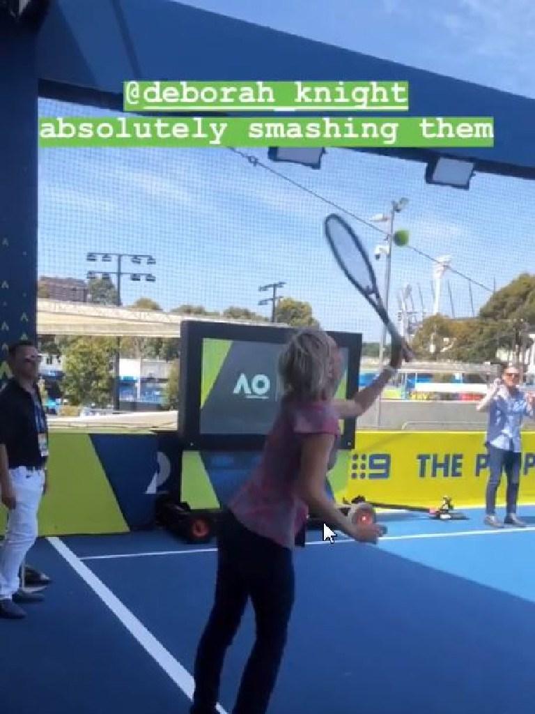 Deb takes a swing.