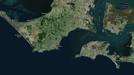 Where the earthquake occurred off the waters off the Mornington Peninsula. Picture: Geoscience Australia