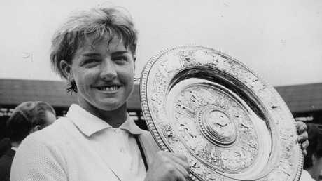 Margaret Court, then Margaret Smith, after winning at Wimbledon. Picture: Press Association