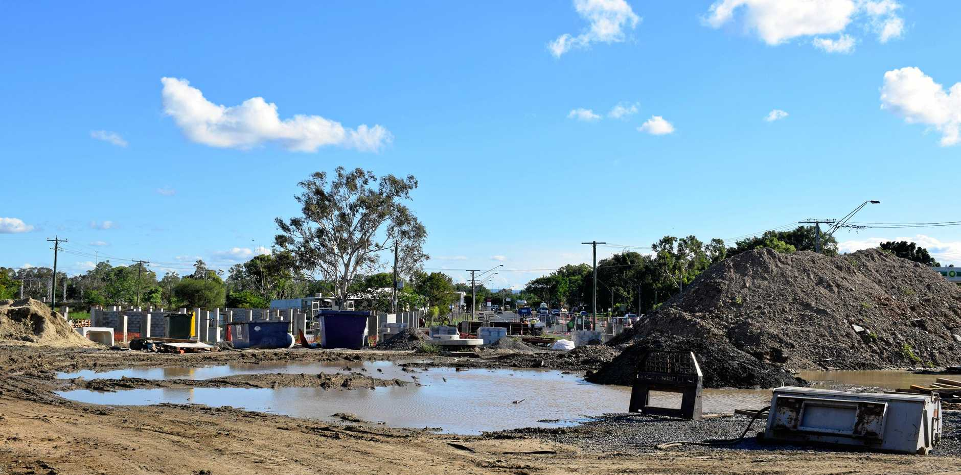 Construction at the Aldi site on Gladstone Rd.