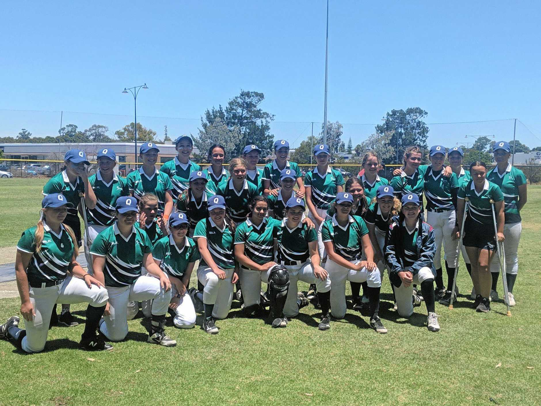 RUNNERS-UP: The Queensland Flames were narrowly defeated in the  Under-15 Girls Regional Softball Championships on Friday.