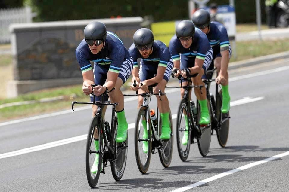 The Mackay team in action during their gold medal winning time trial.