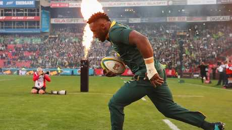 Siya Kolisi of South Africa leads out his team at Ellis Park in Johannesburg.