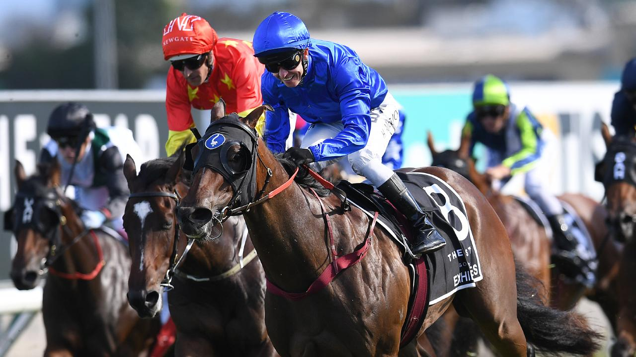 Exhilarates powered home to win the Magic Millions 2YO Classic. Picture: AAP