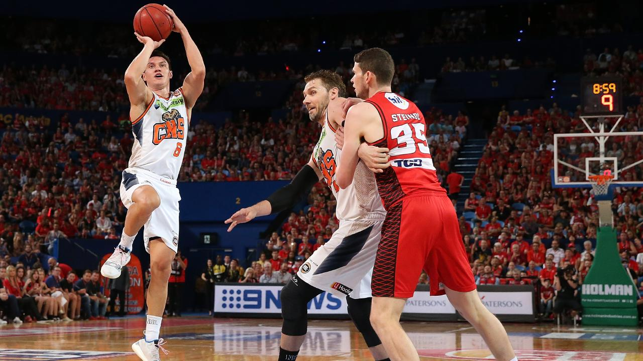 PERTH, AUSTRALIA — JANUARY 11: Jarrod Kenny of the Taipans puts a shot up during the round 13 NBL match between the Perth Wildcats and the Cairns Taipans at RAC Arena on January 11, 2019 in Perth, Australia. (Photo by Paul Kane/Getty Images)