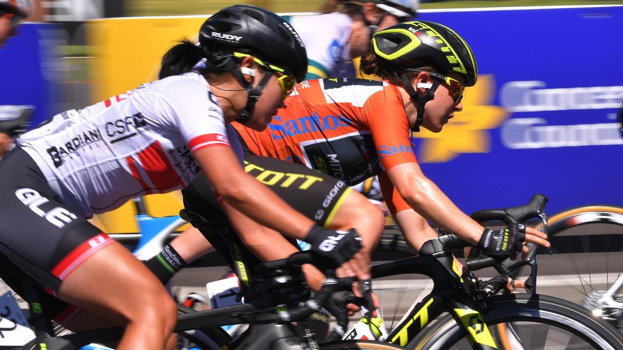 Amanda Spratt of Australia and Team Mitchelton-Scott Orange leaders jersey.