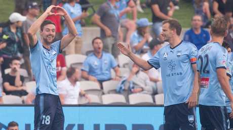 Jacob Tratt (left) celebrates his goal against Adelaide United at Jubilee Stadium. Picture: AAP