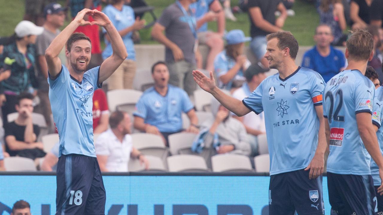 Jacob Tratt (left) celebrates his goal against Adelaide United at Jubilee Stadium. Picture: AAP