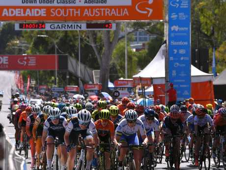 Riders take to the Adelaide cstreet circuit course on Sunday.