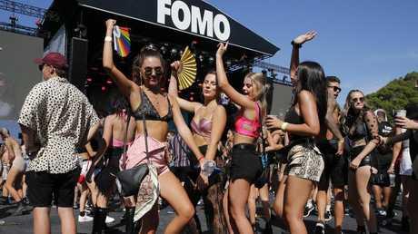 Festival goers at the Fomo Music Festival at Parramatta Park. Picture: David Swift.