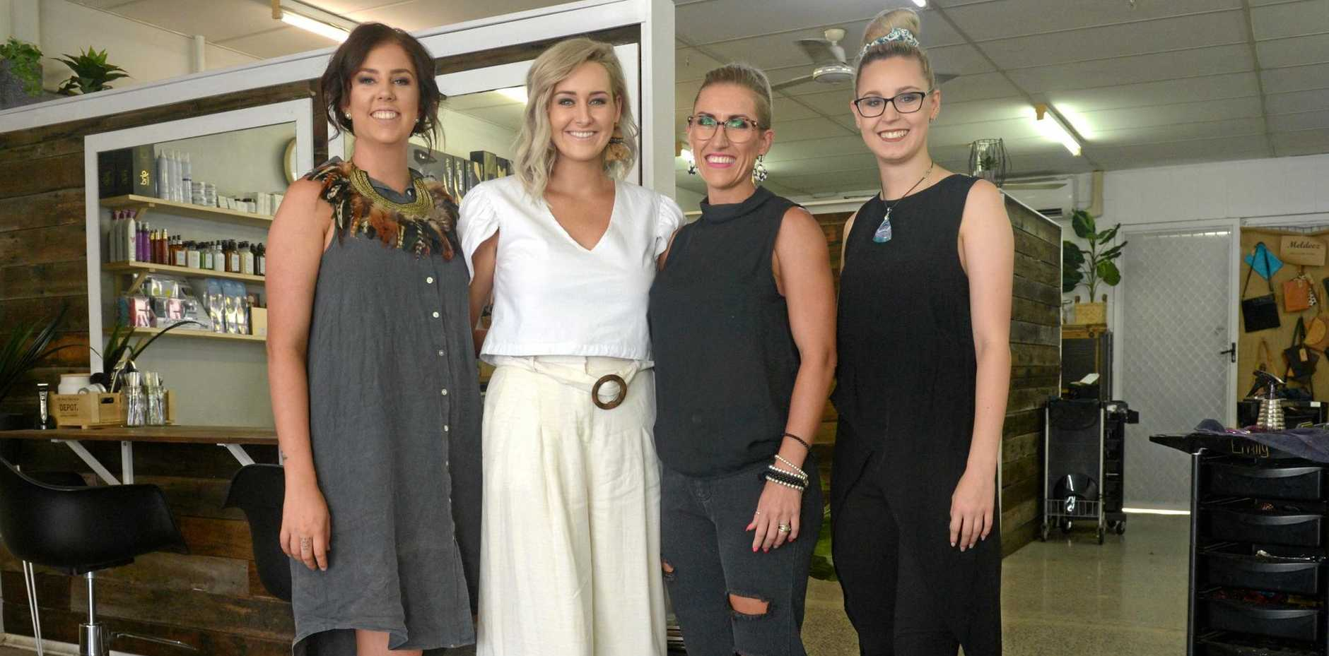 THREE CHEERS: Emily Shkardoon, Larissa McIntosh, Sarah Vea Vea and Shannon Flanagan at Floss's Hair Studio who celebrate five years in business this month.