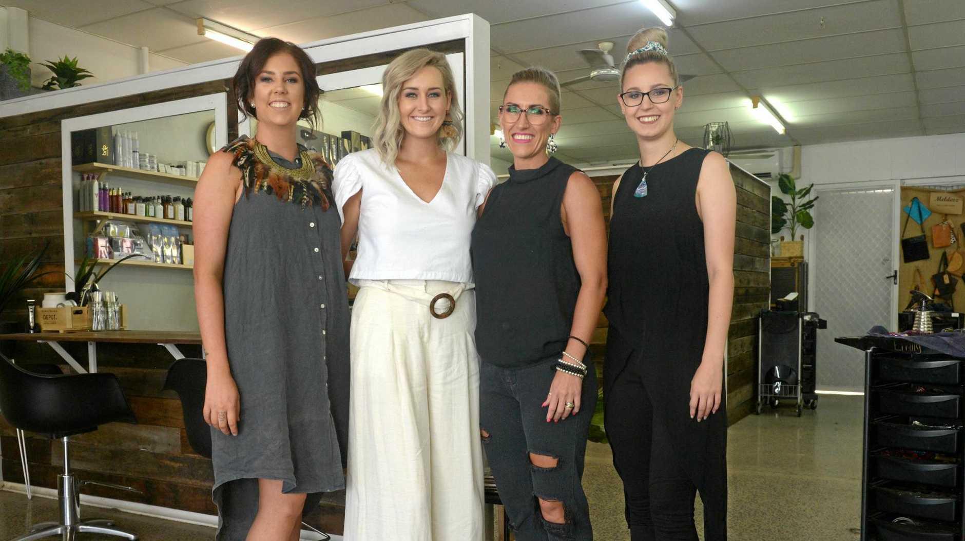 Emily Shkardoon, Larissa McIntosh, Sarah Vea Vea and Shannon Flanagan at Floss's Hair Studio