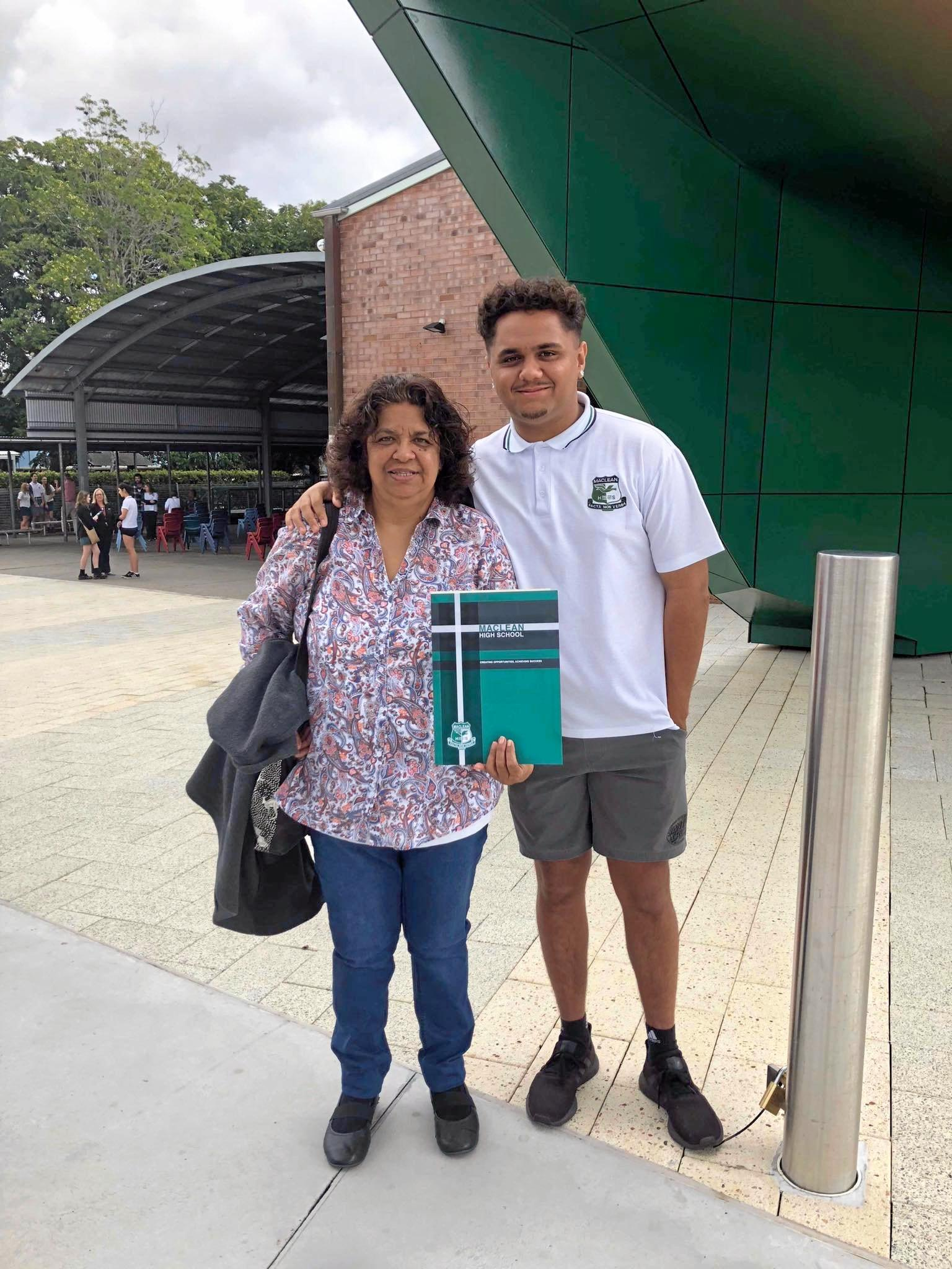 Bengallah Wright with his mum Lynette Randall celebrating his Year 12 graduation at Maclean High School.
