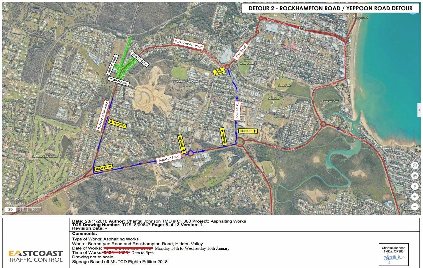 ROADWORKS MAP: Livingstone Shire Council has provided maps showing detours while roadworks are conducted at the closed Barmaryee and Rockhampton Road roundabout.