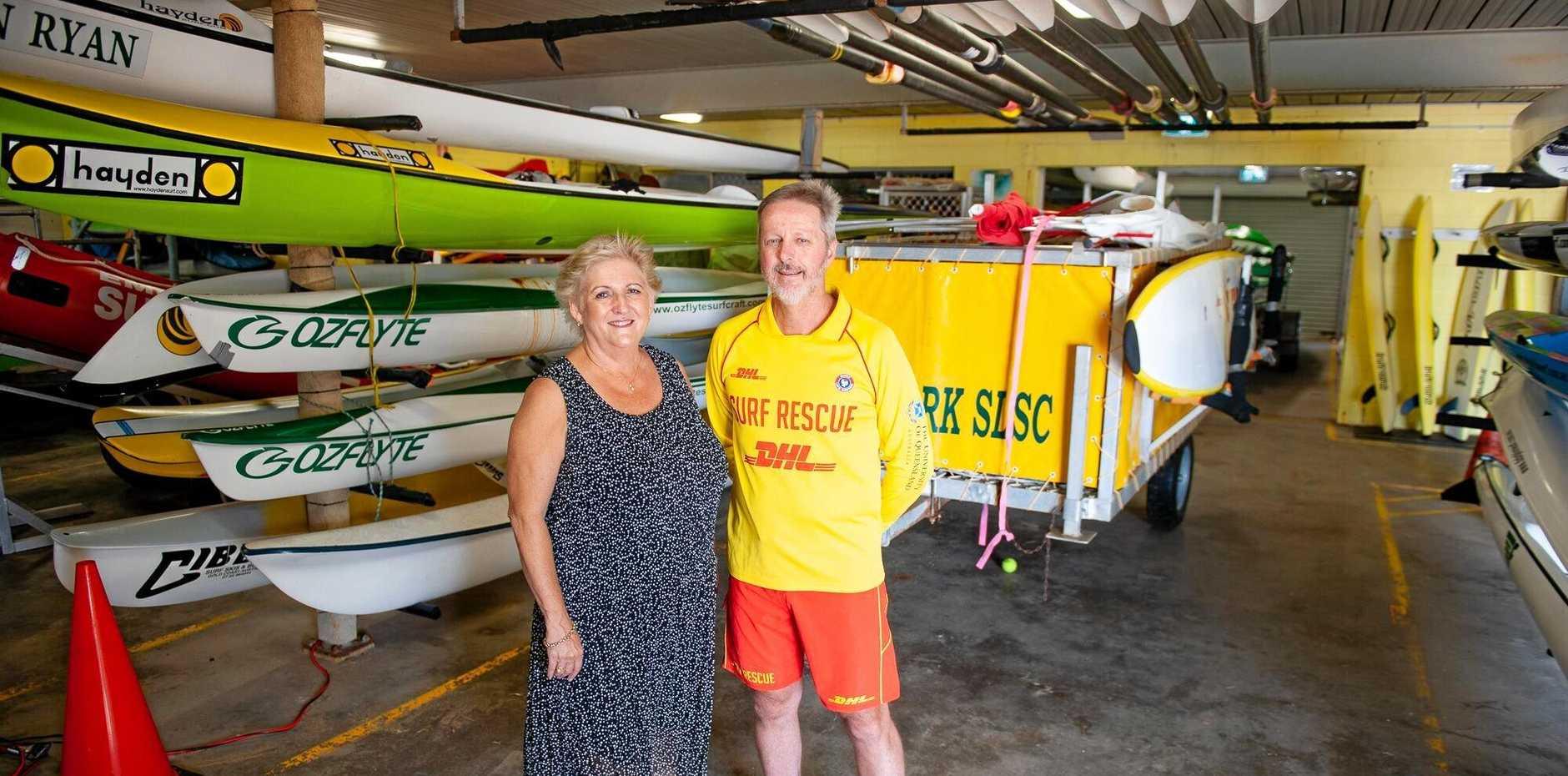 FUNDING BOOST: Michelle Landry with Emu Park Surf Club secretary Gavin Reynolds.