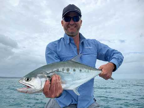 Simon had a taste of fishing on the Fraser Coast after hooking this queenfish while out on the water with Hervey Bay Fly and Sportfishing.