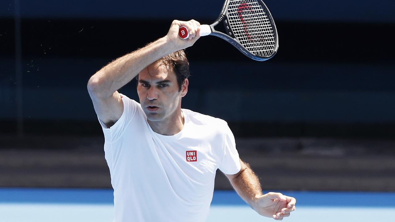 Roger Federer prepares for the Australian Open.