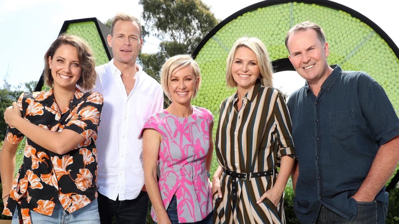 The Channel Nine Today show hosts getting ready for 2019 Australian Open Live site. Brooke Boney, Tom Steinfort, Deb Knight, Georgie Gardner and Tony Jones. Picture: Alex Coppel