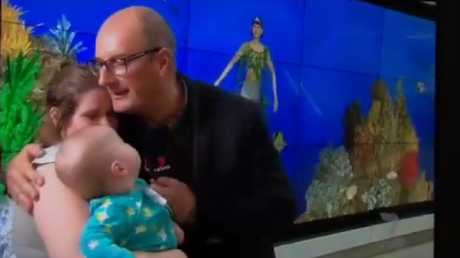 Kochie hugged the mother-of two after learning she was preparing to take her son home from hospital.