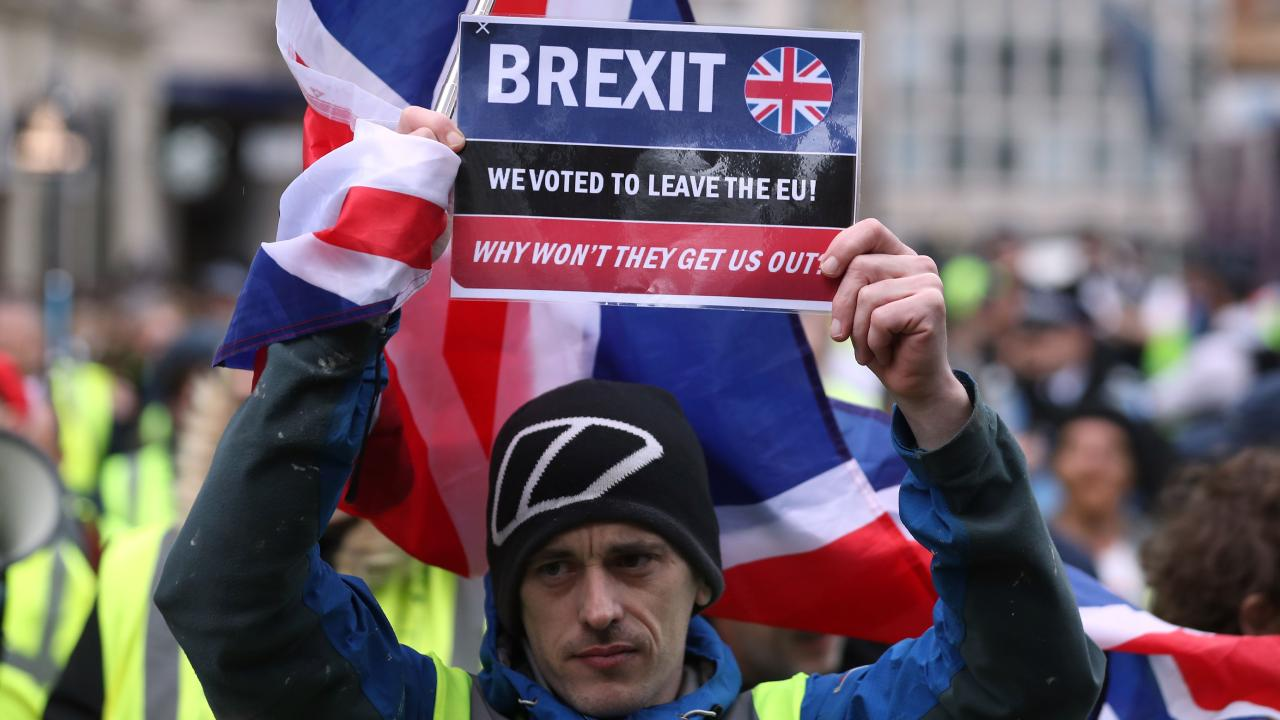 Pro-Brexit protesters take part in a demonstration in central London on January 12, 2019. Picture: Daniel Leal-Olivas/AFP